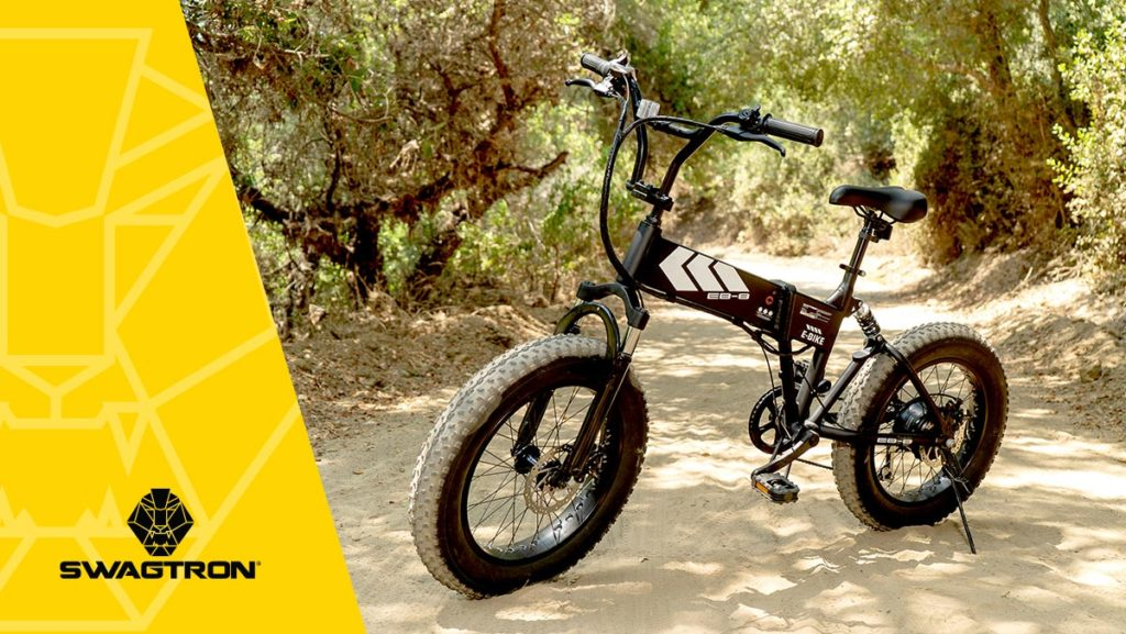 A three-quarters view of the EB8 All-Terrain Electric Mountain Bikes from SWAGTRON.