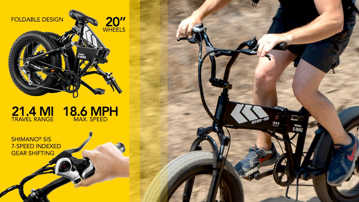 Split-image showing a man trail-riding on his EB8 Electric Mountain Bike (right) and a list of EB8 specs and benefits on the left.