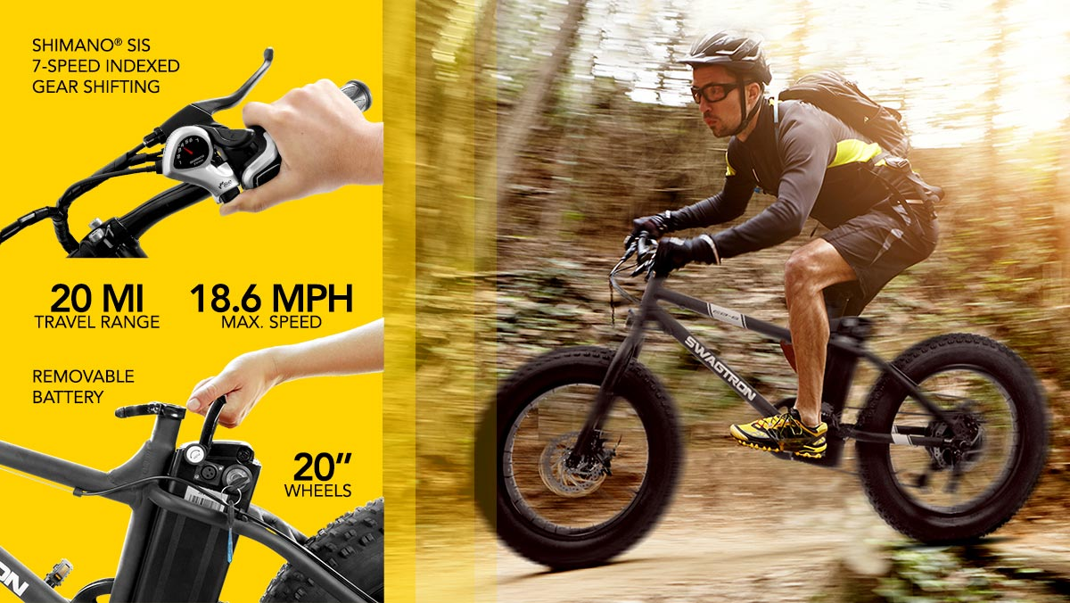 Split-image showing a man trail-riding on his EB6 Electric Mountain Bike (right) and a list of EB6 specs and benefits on the left.
