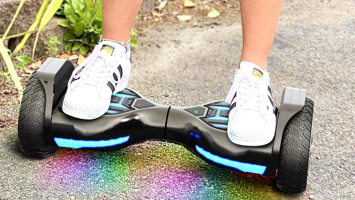 Closeup of someone riding a Swagboard Warrior XL Off-Road Hoverboard