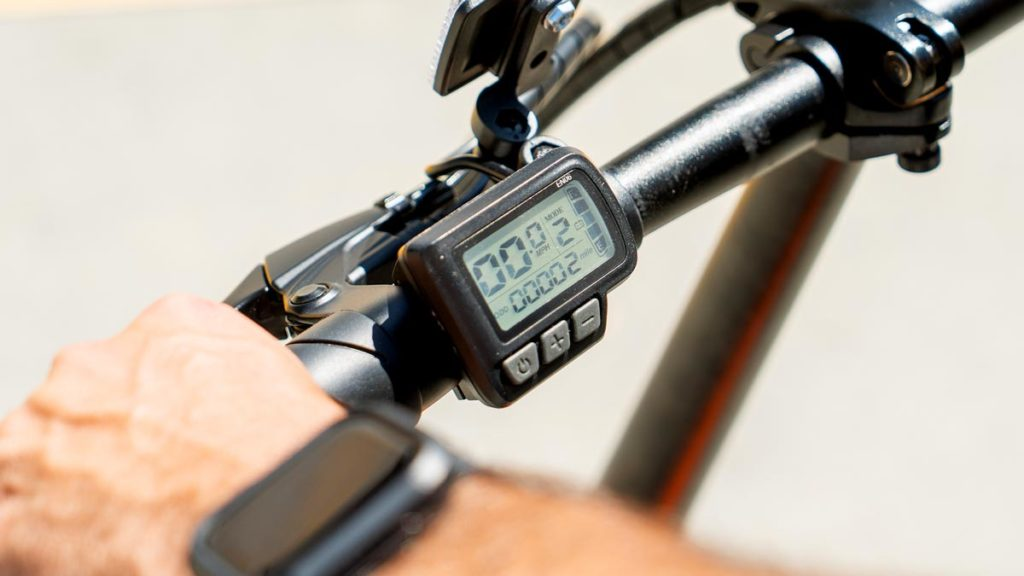 Close-up of the SWAGTRON eBike speedometer.