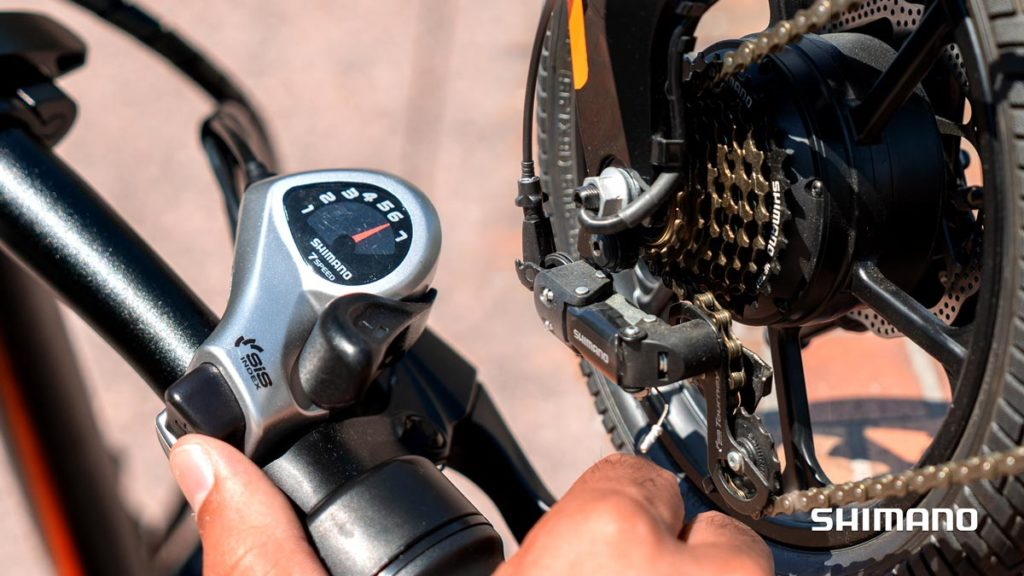 Closeup of Shimano Gear Shifts with SWAGTRON electric bike.
