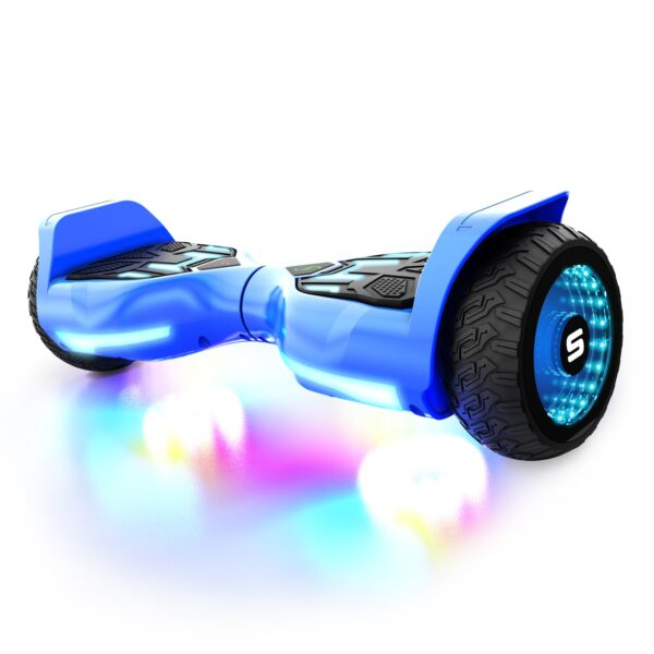Blue T580 Warrior hoverboard with glowing lights on a white background.