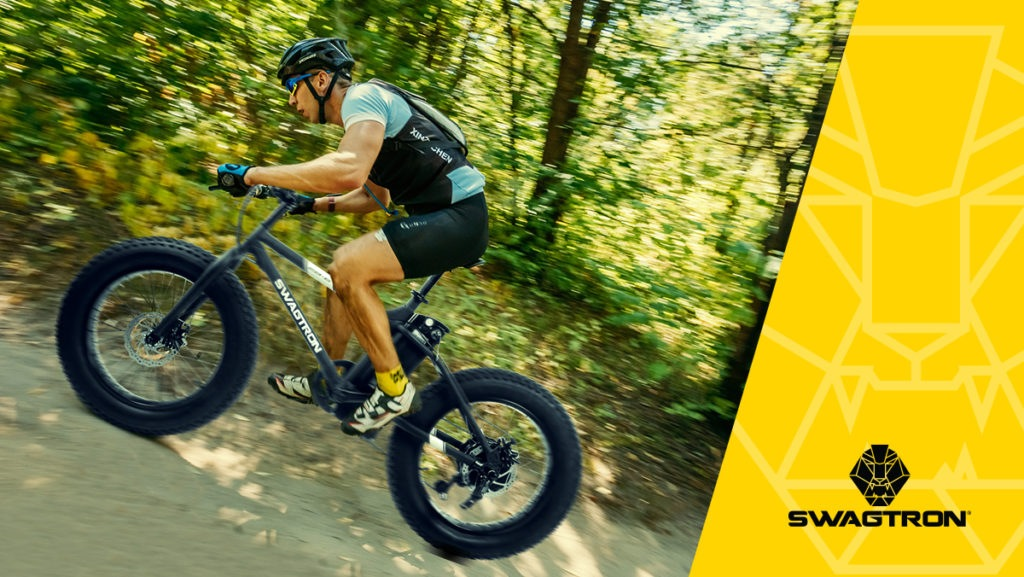 Man riding uphill on an EB8 Off-Road eBike.