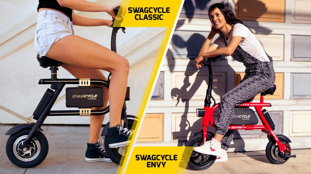 Split-image of young woman sitting on a swagCYCLE Classic (left) and swagCYCLE Envy (right) electric bike.