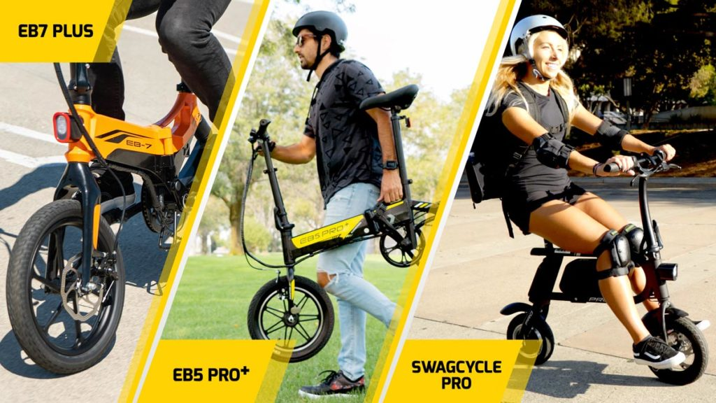Three-image split of the EB7 Plus (left), the EB5 Pro Plus (center) and the swagCYCLE Pro (right) electric bike.