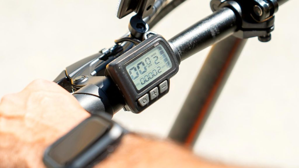 Close-up of a display on a SWAGTRON eBike.