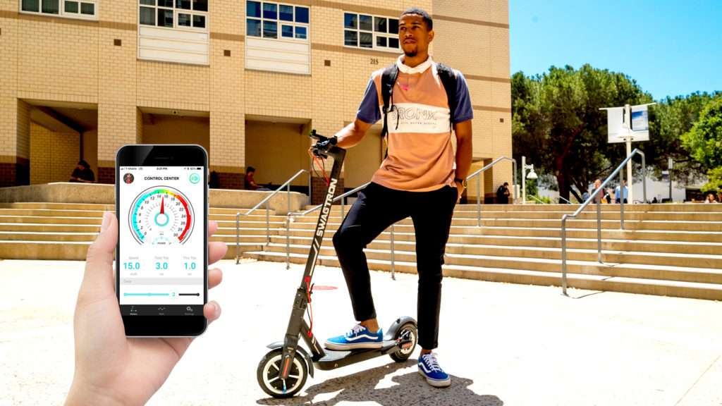 Split image of college student with his Swagger 5 Elite and the Swagger 5 app.