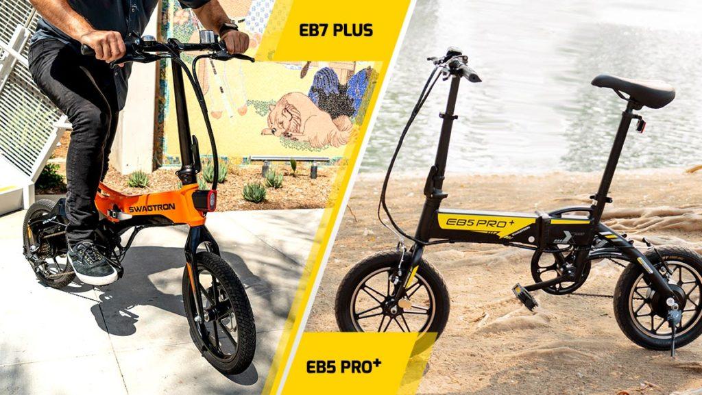 Split image of the EB7 Plus eBike and the EB5 Pro Plus electric bike.