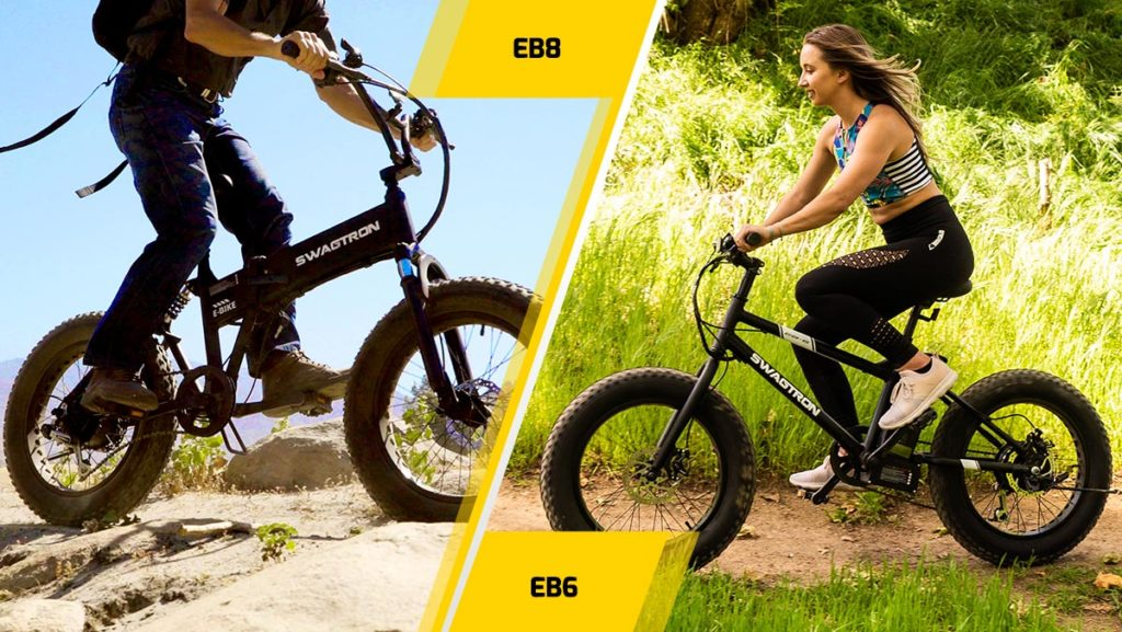 Split image of the EB8 Off-Road Fat Tire eBike (left) and the EB6 Youth All-Terrain eBike with fat tires.