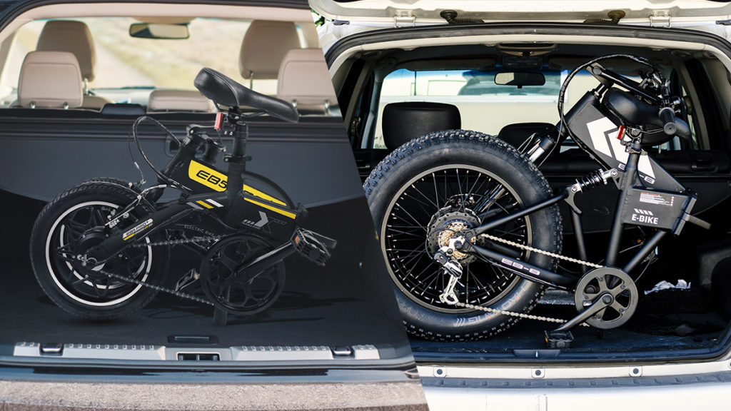Split image of the EB5 Pro Plus (left) folded in the trunk and the EB8 Fat-Tire eBike (right) folded in a trunk.