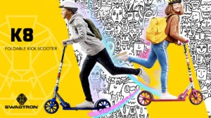 Images of kids riding the new K8 kick scooter colors