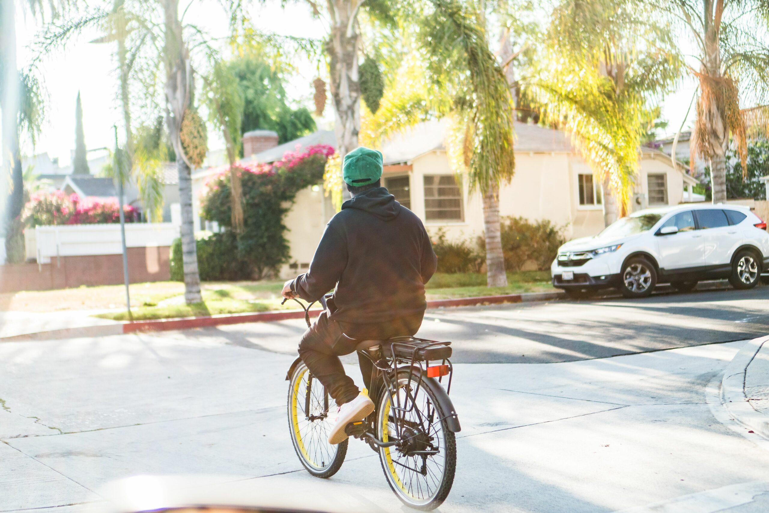 Rakeem Miles riding off on his EB11 eBike