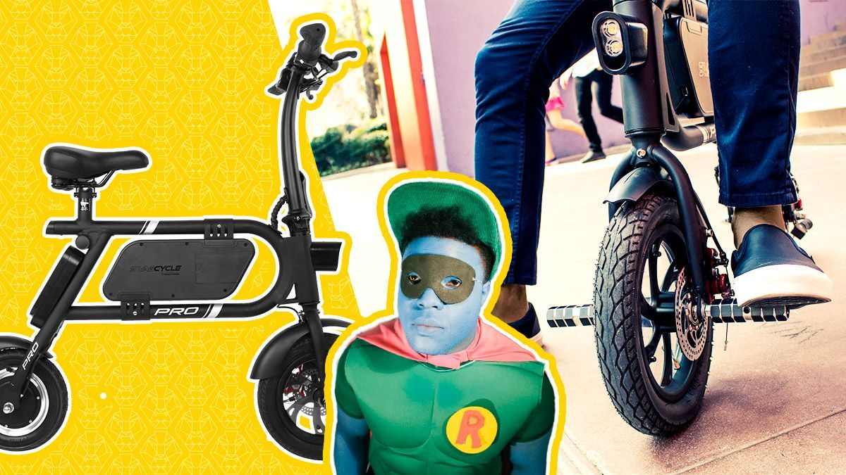 Split image of the swagCYCLE Pro and Rakeem Miles