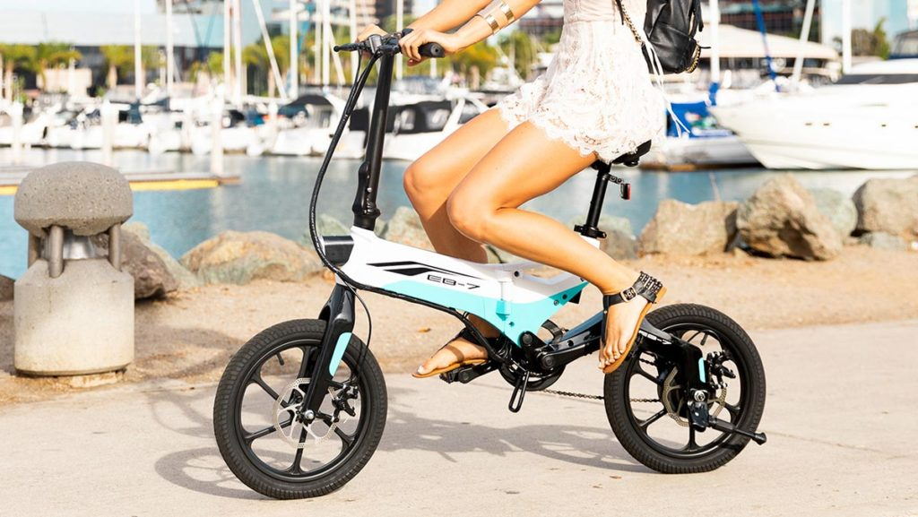 Woman riding the EB7 eBike.