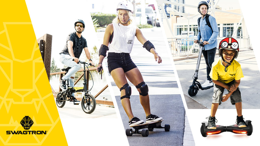 Split image of EB7 Plus eBike, NG2 electric longboard, Swagger 7 eScooter and swagBOARD EVO hoverboard.