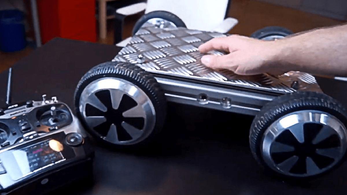 A DIY remote control hoverboard tank.