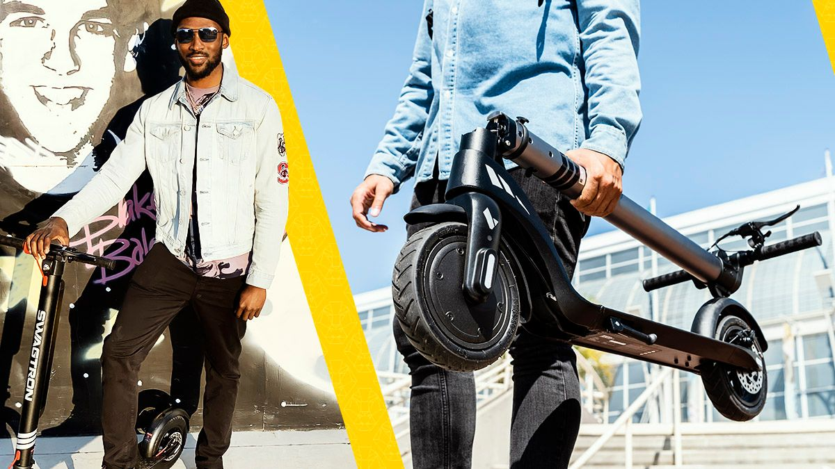 Split image-Tyrell Richard with Swagger 7T; Guy carrying a folded Swagger 7T