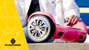 Closeup of a pink swagBOARD T1 hoverboard.