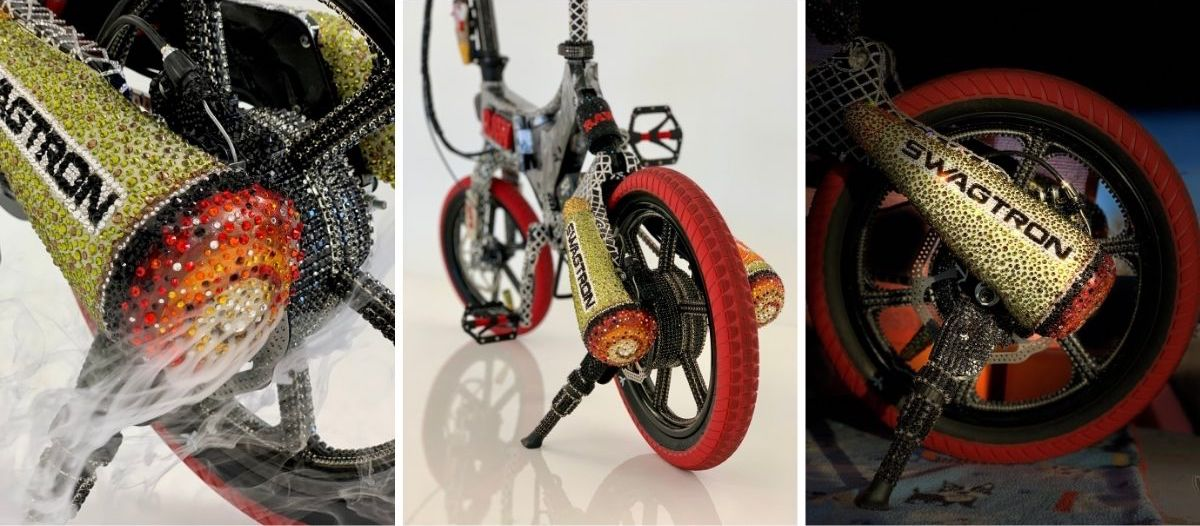 Split image showing the amazing detailed work of the GVG EB7 eBike.