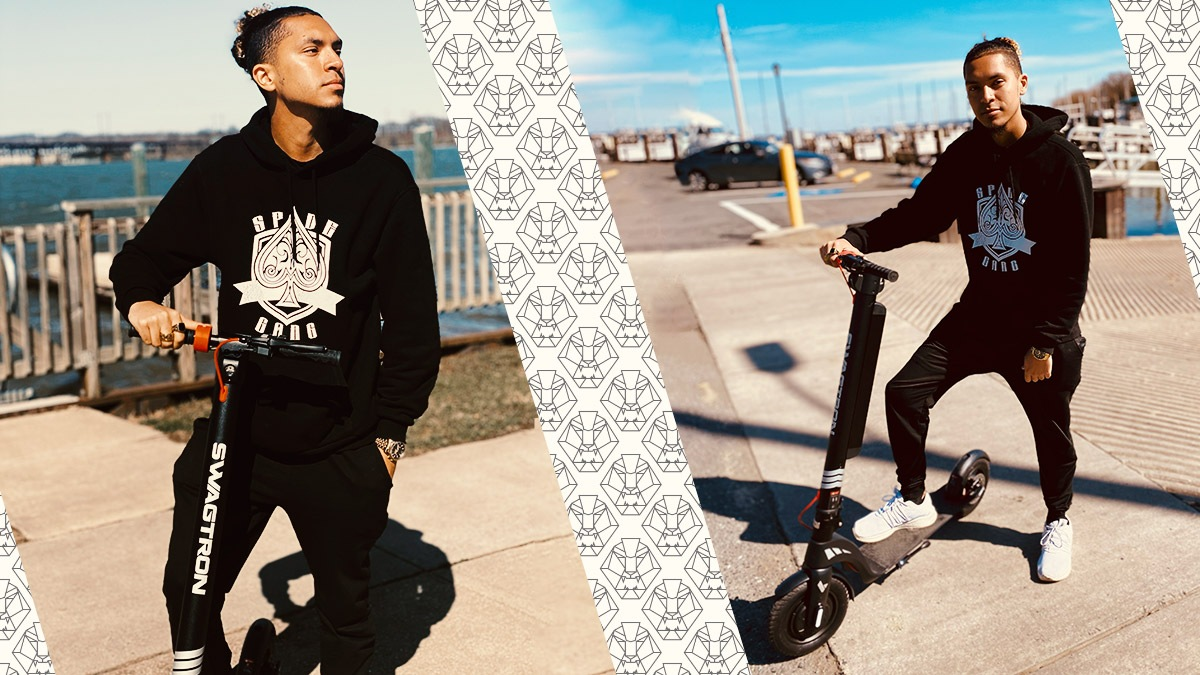 Split image of Saxl Rose with his Swagger 7T Transport