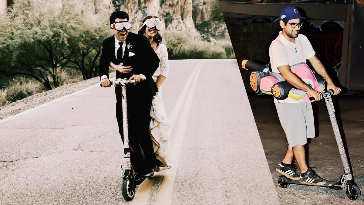 Split image of Gabe and Wife riding the Swagger 5 (left); Gabe riding the Swagger 5 Elite solo (right)
