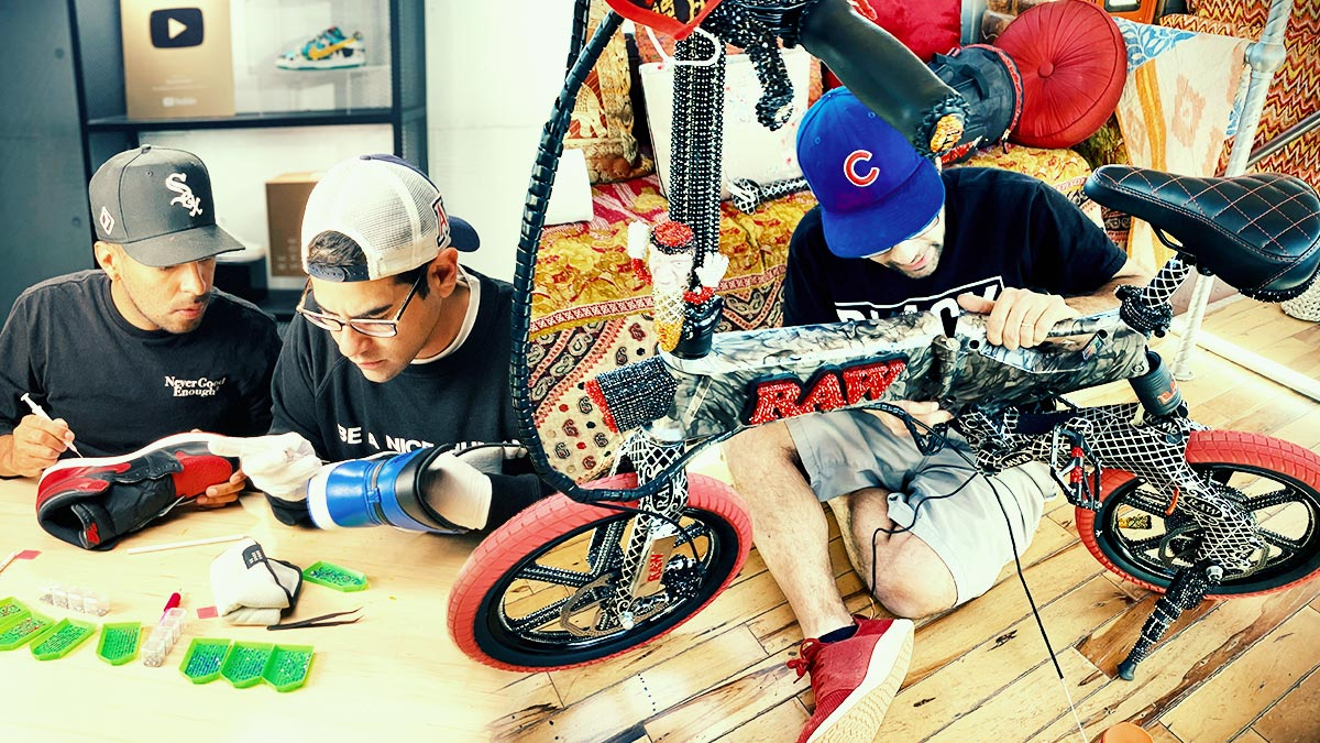 Split image of Gabe working on Air Jordans (left) and the RAW x GVG EB7 eBike (right).
