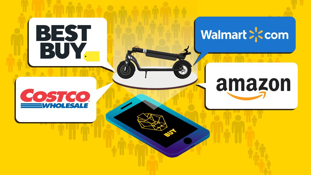 Diagram of the online marketplaces that carry SWAGTRON, incl. Best Buy, Walmart & Amazon.