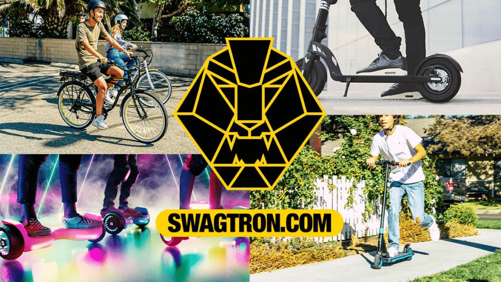 4-split image feature people riding various SWAGTRON products, including the EB10 eBike, the Swagger 7T Transport, Warrior hoverboard, and K8 kick scooter.
