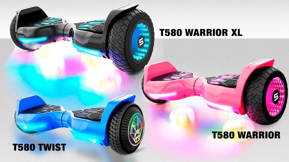 Image of the three T580 hoverboards: the Twist, the Warrior and the Warrior XL.