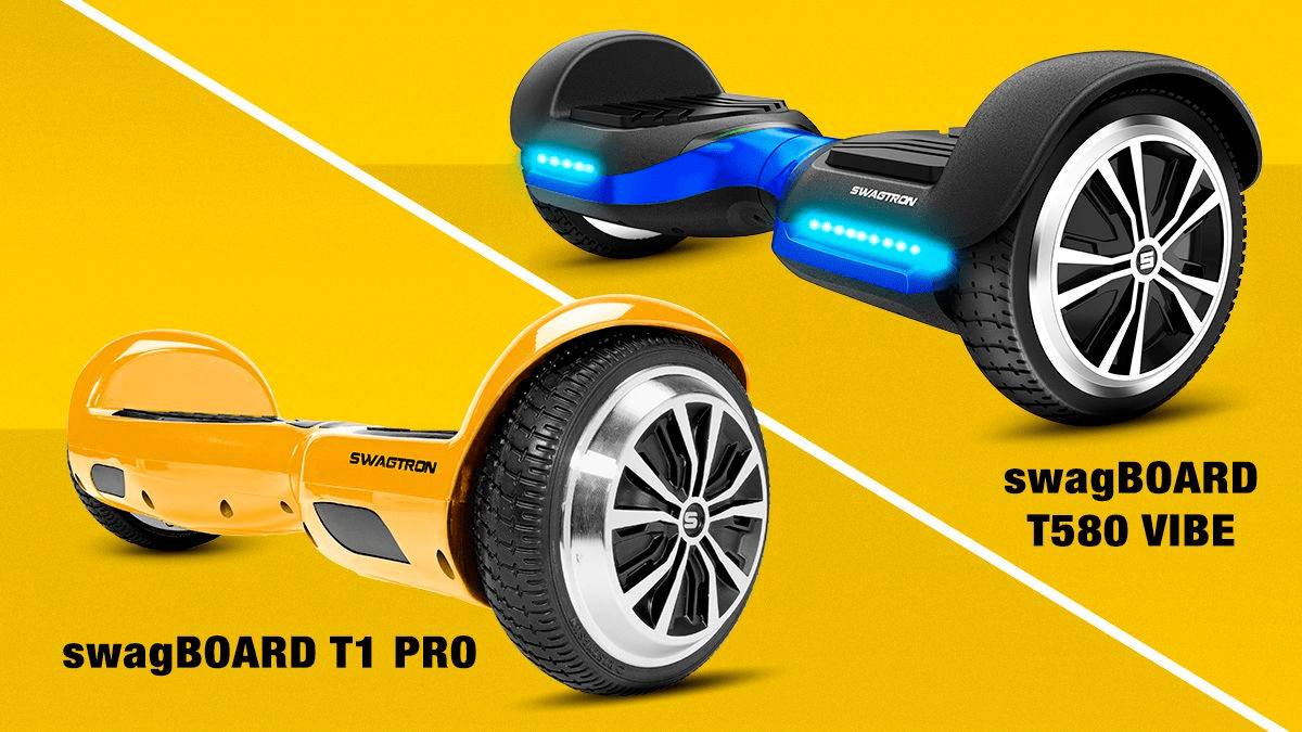 A split-image of the swagBOARD T1 Pro and the swagBOARD T580 Vibe hoverboards