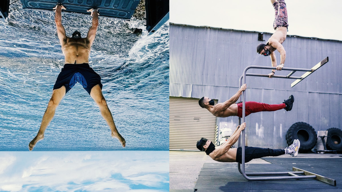 Split image of Travis and friends doing gravity defying feats of balance and strength.