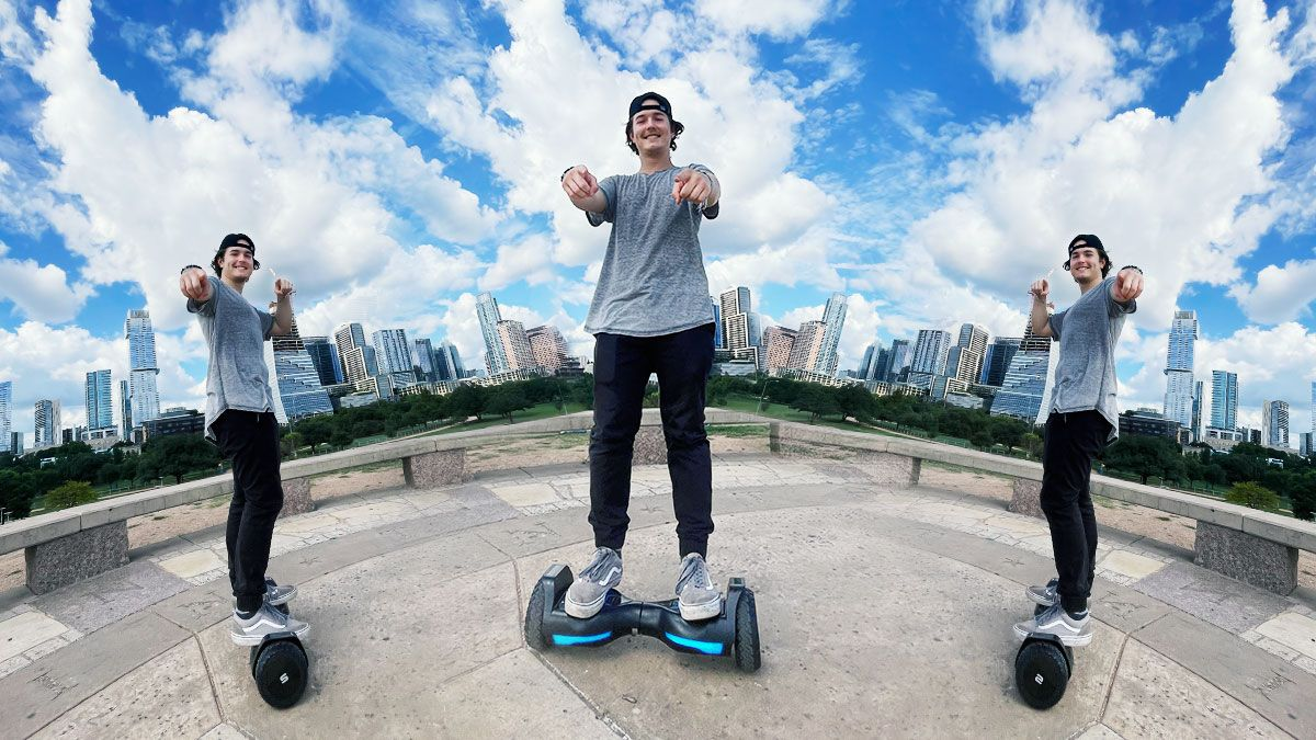 split image of DJ Liquid Candi outside on his T580 Warrior hoverboard
